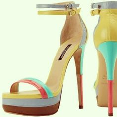 Raspberry red, lemon yellow, aqua blue, warm taupe, baby blue…we love colorful @Ruthie_Davis S13 #shoes!!! (Avail @neimanmarcus.com).