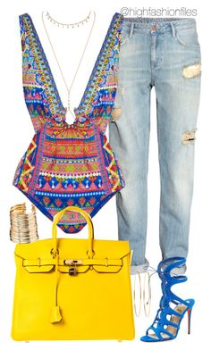 """Vacation"" by highfashionfiles on Polyvore featuring Jacquie Aiche, H&M, Camilla, Hermès, Christian Louboutin, Jennifer Meyer Jewelry and ASOS"