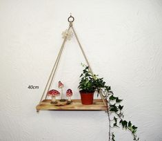 Hanging Rope Shelf, Rustic Pyramid Swing Shelf Charred — Sew Very Chic Hanging Rope Shelves, Floating Shelves, Mixed Fiber, House Plants, Pine, Shelf, Rustic, Contemporary, Simple