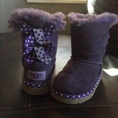 Purple and white polka dot Bailey bow UGGS