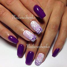 Дизайн ногтей тут! ♥Фото ♥Видео ♥Уроки маникюра Colorful Nail Designs, Cool Nail Designs, Trendy Nails, Cute Nails, Hair And Nails, My Nails, Nail Ink, Purple Nails, Fabulous Nails
