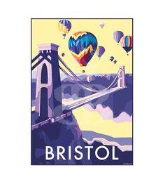 Bristol vintage style travel poster and seaside print forms part of the British Coastlines travel art collection. Created by Devon Artist Becky Bettesworth. Posters Uk, Railway Posters, Poster Prints, Event Posters, Retro Quotes, Bristol England, Bristol City, Clifton Bristol, Retro Poster