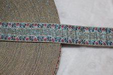 $1 yard Blue pink rose ombre metallic gold woven jacquard sewing ribbon Trim
