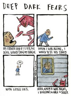 Cat got your tongue? An anonymous fear submitted to Deep Dark Fears - thanks! You can find both Deep Dark Fears books online and wherever books are sold! Ask your local comic book shop about them! Fear Book, Deep Dark Fears, Wil Wheaton, Fathers Say, Nothing To Fear, I Am Alone, Illustration Art, Art Illustrations, Comic Strips