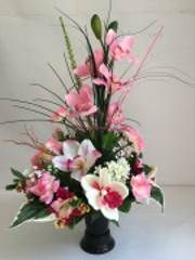 vase funeraire pvc lourdement lest avec composition florale artificielle orchid e et rose. Black Bedroom Furniture Sets. Home Design Ideas