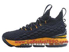 sale retailer 7d03f 38108 Nike LeBron 15 XV Chaussures Nike Prix Pas Cher Pour Homme Officiel Basket  Noir Jaune