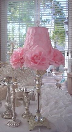 ROMANTIC COTTAGE PINK ROSES LAMP SHABBY CRYSTAL CHIC