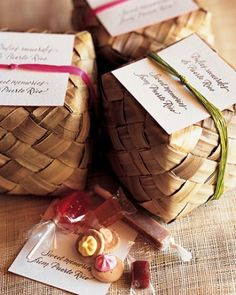 "FAVORS   30 of 33  Each guest is sent home with a card that reads ""Dulces recuerdos de Puerto Rico"" and the phrase's English translation, ""Sweet memories from Puerto Rico."""