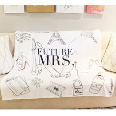 Custom illustrated future mrs blanket