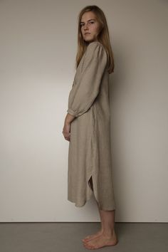 Vintage Inspired Handstitched Longsleeved Linen Gown by LGlinen, $69.00