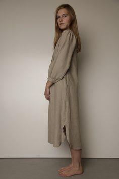 Vintage Inspired Handstitched Longsleeved Linen Gown by LGlinen, $69.00