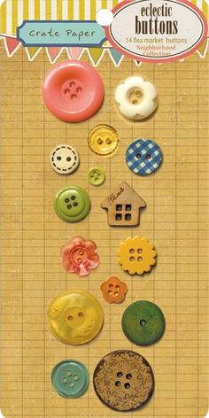 Neighborhood Eclectic Buttons from Crate Paper - package of 14 flea market buttons