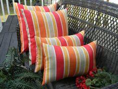 "SET OF 4 - Indoor / Outdoor - 20"" Calypso Red Orange Tangerine Stripe Square Pillows & 2 Matching Rectangle/ Lumbar Throw Pillows"