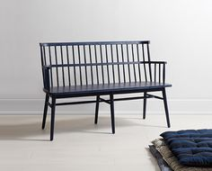 The Breck Bench adds a pop of indigo color to the traditional Windsor shape, and makes a colorful addition to the kitchen table.