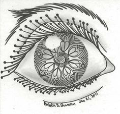 Zentangle Eyes | zentangle your eye for sandy i drew this zentangle on a 4 square ...