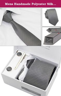 """Mens Handmade Polyester Silk Regular Width Necktie with Cufflinks Pocket Square and Tie Clip 3'' (8cm) (Black#1). Material :Polyester Specifications:3.15""""*57""""/8cm(Widest width)*145cm(Length) Features: Renewable, organic or recycled material is used for manufacturing our innovative products. Cut on a perfect 45-degree bias to ensure that the tie never twists or turns. Fully fitted interlinings provide a beautiful drape and a smooth knot. Great for formal and casual occasions! Care Guide…"""