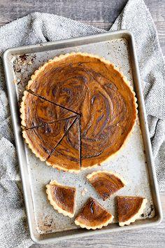 Chocolate-Swirled Pumpkin Tart