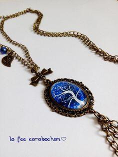 collier sautoir * arbre de vie bleu * hiver bleu blanc, cabochon verre Liberty, Pendant Necklace, Etsy, Jewelry, Tree Of Life, Unique Jewelry, Winter, Blue, Political Freedom