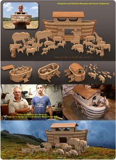 Noah's Magnificent Father Son Ark Wood Toy Plan Set - erg mooie ark van Noach van hout