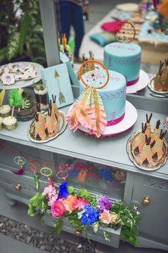 Cake table from a Boho Tribal Birthday Party on Kara's Party Ideas | KarasPartyIdeas.com (10)
