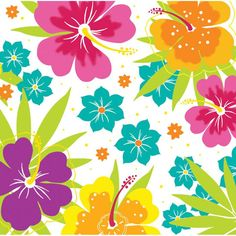 These beautiful hibiscus flowers will brighten any table and set the stage for a great summer party or luau! Our coordinating 2-ply Floral Delight lunch napkins are strong enough for any mess! Package contains 100 lunch size napkins.