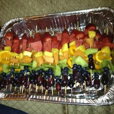 Fruit kabobs for a colourful shower