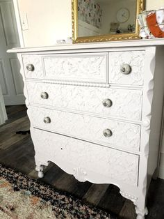 Have you seen the textured furniture at places like Home Goods or TJ Maxx? Don't get me wrong, they are cute, but the price is high for something that is often not made of real wood!Follow these steps and I'll show you how to texturize your own piece of furniture. I promise, you will be surprised how easy it is! STEP ONE:Find that piece that needs some TCL and added dimension.This solid dresser is the perfect piece for DIY texture. The drawers are flat which makes the surface easy to Painted Furniture, Diy Furniture, Upscale Furniture, Furniture Refinishing, Recycled Furniture, Refurbished Furniture, Nuvo Cabinet Paint, Dresser Refinish, Old Bookcase