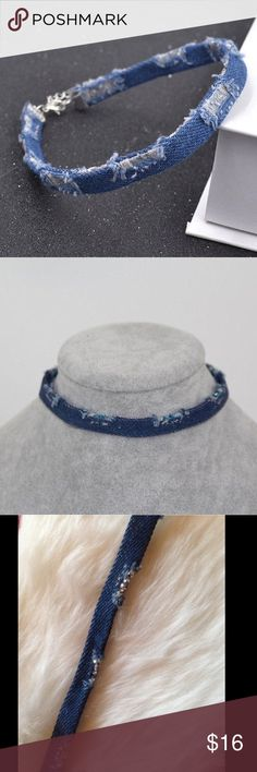 Distressed Denim choker New in package gorgeous distressed denim choker! PERFECT stocking stuffer! Perfect to pair with any outfit💅🏻 Last 2 pictures are mine **NOT from listed brand** LF Jewelry