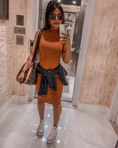 Chic outfit idea to copy ♥ For more inspiration join our group Amazing Things ♥ You might also like these related products: - Skirts ->. Tumblr Outfits, Girl Outfits, Fashion Outfits, Womens Fashion, Dress With Converse, Modest Wear, Look Fashion, Casual Looks, Stylish Outfits