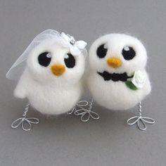 Love Birds Wedding Cake Topper White Wedding by feltmeupdesigns