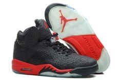 save off da901 defc0 Air Jordans 5 Retro Cheap Black Red Chaussure Basket, Homme Noir, Nike Air  Jordan