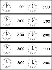 Clock Dominoes (Analog/Digital, 1:00 to 6:00), A Printable Game - EnchantedLearning.com ( The Llama Who had no pajamas)