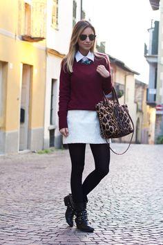 Luisa Accorsi - Sweater: Club Monaco | Saia: Club Monaco | Colar: J.crew | Bolsa: Valentino | Bota: Broomley & Russel