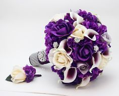 Reserved- Bridal Bouquet Real Touch Picasso Callas Purple Lavender Ivory Roses Groom Boutonniere Bridesmaids Bouquets Parents' Flowers by SongsFromTheGarden on Etsy https://www.etsy.com/listing/259961493/reserved-bridal-bouquet-real-touch