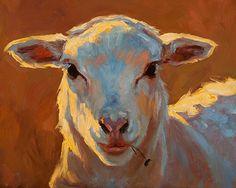 Lady Lamb by Cheri Christensen Oil ~ 8 x 10