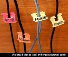 Use bread clips to organize cords