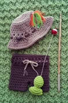 Little Fishing Buddy Photo Prop Outfit, includes fishing pole with fish.  Available at www.facebook.com/HoldenDesigns for $30.00 ༺✿ƬⱤღ https://www.pinterest.com/teretegui/✿༻
