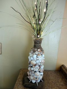 Beachy Shell crafted vase with LED branches and sea by BeachBasket, $40.00