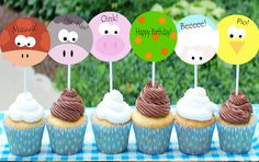 Farm Invitations Farm Banners Farm Cupcakes by ImprimiblesCucos Farm Animal Birthday, Farm Birthday, 2nd Birthday Parties, Farm Cupcake Toppers, Farm Party Invitations, Party Printables, Balloons, Birthdays, Crafts