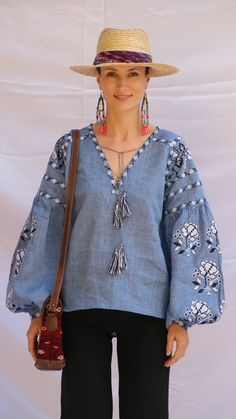 Shirt version with v-neck and no body embroidery, just sleeves and neckline.   Beautiful embroidered quality linen, bohemian folk blouse Please understand that this item is not mass produced, they are made to order. Although we can custom make any color and or style, they are ea