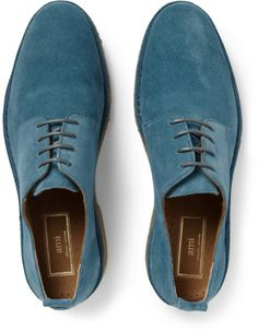 Ami Crepe-Soled Suede Derby Shoes in Blue for Men