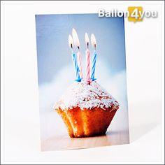Grußkarte Törtchen mit Geburtstagskerzen