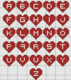 New Knitting Charts Letters Perler Beads Ideas Cross Stitch Letters, Cross Stitch Heart, Beaded Cross Stitch, Cross Stitch Embroidery, Hama Beads Patterns, Beading Patterns, Bracelet Patterns, Crochet Letters, Embroidery Alphabet