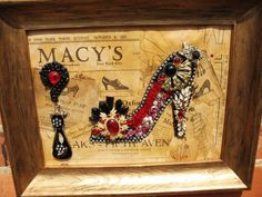 """15"""" x 12""""  Jewelry art  framed picture """"HIGH HEEL SPARKLE"""" - LoveItSoMuch.com Vintage Jewelry Crafts, Recycled Jewelry, Vintage Jewellery, Recycled Crafts, Jewelry Frames, Jewelry Tree, Jewelry Ideas, High Jewelry, Button Art"""