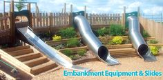 playground design on a slope | Playground Slides | Embankment Slides | Playdale Playgrounds