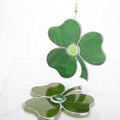 Artic Fox Handcrafted Light Green Shamrock Suncatcher Stained Glass Ornament