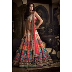 Art Silk Machine Work Multicolour Semi Stitched Lehenga - PH01