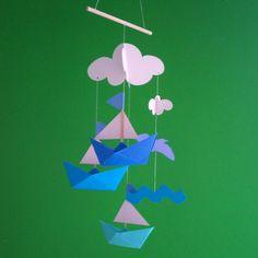 Origami boat nursery mobile. $13.75, via Etsy.