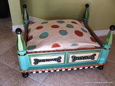 Ottoman or side table pet bed. Love the paint job!