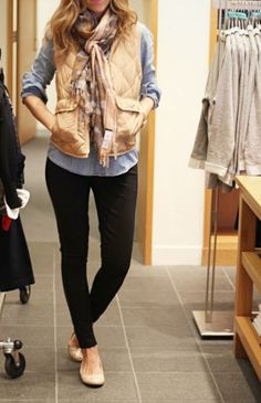 Jcrew quitled vest and blue jeans or pants